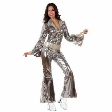 Disco feestmorphsuit dames zilver