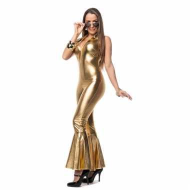 Gouden catsuit wijde pijpen morphsuit