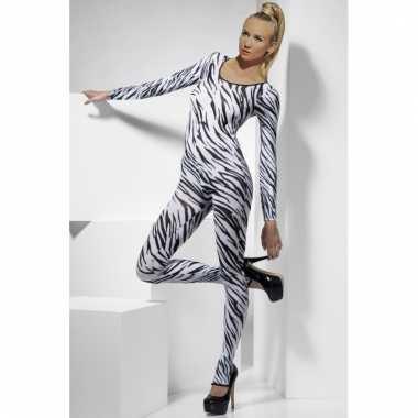 Strakke morphsuit zebra dames