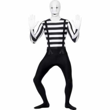 Zwart wit second skin mime morphsuit
