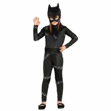 Zwarte kat poes halloween catsuit meiden morphsuit